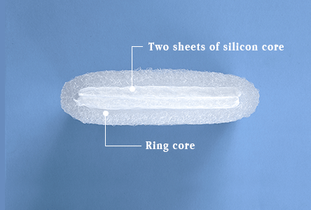 Height of pillow: High-Ring core plus two sheets of core materials  *The picture shown in the above is intended to show a structure.  Actual thickness of core material may differ from this image.