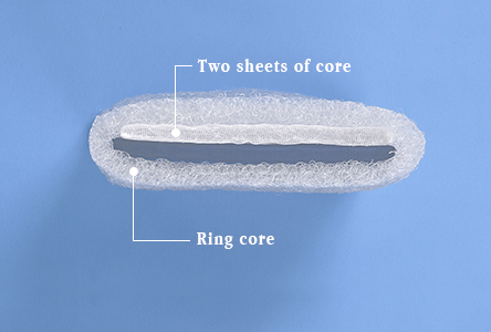 Height of pillow: Mid-Ring core plus a sheet of core material  *The picture shown in the above is intended to show a structure.  Actual thickness of core material may differ from this image.